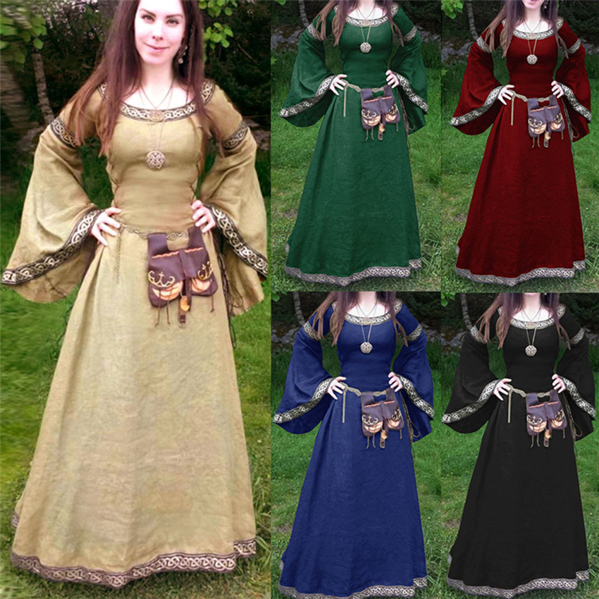 Medieval Cosplay Costumes For Women Dress Halloween Carnival Party Performance Solid Long Sleeve Middle Ages Renaissance Dresses