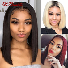 Bob-Wigs Human-Hair-Wigs Lace-Front Straight Malaysian Short Hair-99j Pre-Plucked Natural-Color