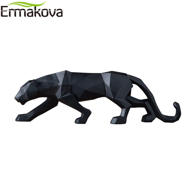 ERMAKOVA Panther Statue Animal Figurine Abstract Geometric Style Resin Leopard Sculpture Home Office Desktop Decoration Gift 4