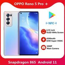 Nowy oficjalny telefon komórkowy OPPO Reno 5 Pro + Plus 6.55 calowy ekran OLED 90Hz 65W Super VOOC 4500mAh Android 11 kolor OS11 mobilny
