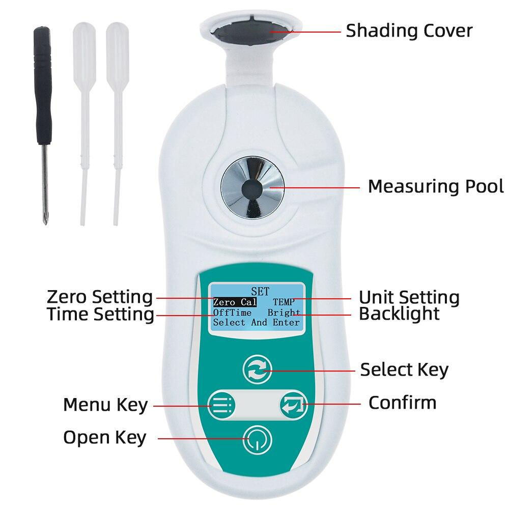 Tools : 0-53percent Digital Brix Refractometer Juice Honey Test Meter Fluid Brix Refractometer Juice Sugar Content Measuring Instrument 40percentOFF