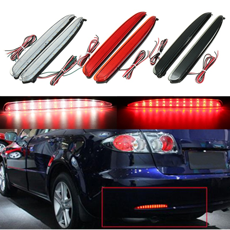 2x 24 <font><b>LED</b></font> Rear Bumper Reflectors <font><b>Tail</b></font> Brake Stop Running Turning <font><b>Light</b></font> For <font><b>Mazda</b></font> <font><b>6</b></font> 03-08 Parking Warning Night Driving Fog Lamp image