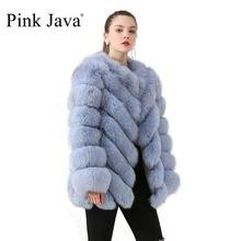 สีชมพูJava QC19059ใหม่มาถึงร้อนขายจริงFoxขนสัตว์ขนสุนัขจิ้งจอกธรรมชาติเสื้อแขนยาวผู้หญิงเสื้อฤดูหนาวหนาขนสัตว์