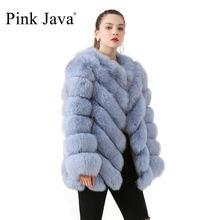 Новое поступление, розовое пальто java QC19059 из натурального Лисьего меха, пальто из натурального Лисьего меха, Женское пальто с длинным рукавом, зимнее плотное меховое пальто