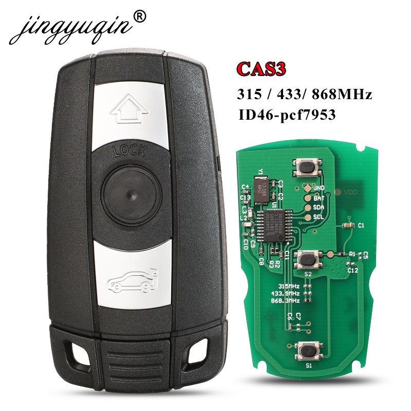 Jingyuqin voiture télécommande clé intelligente 315Mhz /433/ 868MHz pour BMW 1/3/5/7 série CAS3 X5 X6 Z4 voiture sans clé contrôle émetteur puce