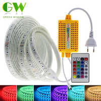 220V Светодиодные полосы света 5050 RGB неоновая лента с 24-кнопочный пульт дистанционного управления на открытом воздухе водонепроницаемая свет...