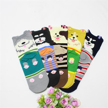 Hot sale! womens socks warm 5pairs/lot spring autumn-winter cute cotton dog sock ladies and women funny animal