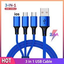 3 em 1 cabo rápido para o telefone móvel carregador rápido micro cabo usb tipo c android carregador cabo para iphone três cabo de carga de dados