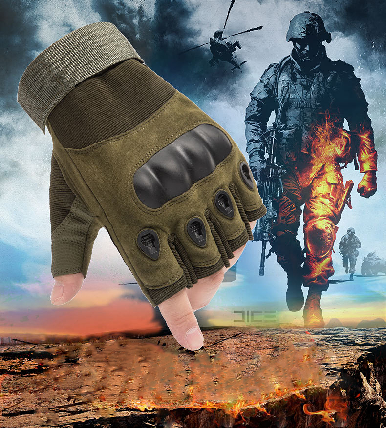 Tactical Gloves Outdoor Sports Moto Ridding Half Finger Military Combat Anti-Slip Carbon Fiber Shell Tactical Gloves
