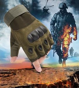 Image 1 - Tactical Gloves Outdoor Sports Moto Ridding Half Finger Military Combat Anti Slip Carbon Fiber Shell Tactical Gloves