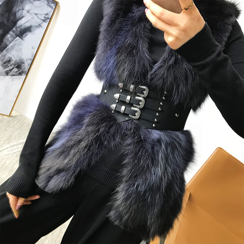 Fashion Black Outwear Metal Aluminum Bucket Girdle Women Winter Out Coats Waist Belt Slim Fitted Elastic Waist