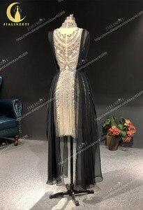 Image 4 - Zuhair, photo rhénane, robe de soirée de standing à col haut, couleur argent, longueur genou, luxueuse, robe de soirée, 2020