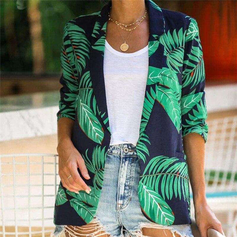Fashion Women Blazer Lady Office Outerwears Floral Slim Casual Suit V Neck Lady Women Jacket Coat Vintage Streetwear