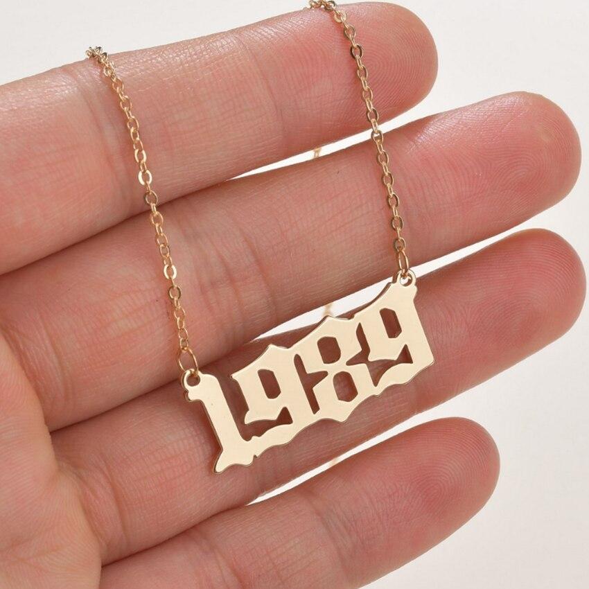 Cxwind Gepersonaliseerde Speciale Datum Jaar Nummer Ketting Voor Vrouwen Geboortejaar Hanger Ketting 1989 2000 Chain Sieraden Gift