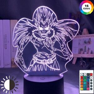 Смертная записка детский Ночной светильник Led Цвет изменение Ночной светильник для украшения комнаты японского аниме Манга подарок 3d иллюзия Лампа Ryuk рисунок