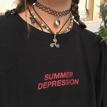 Starqueen-JBH Summer Depression Graphic Tee Summer Funny Tshirt Fashion Shirts C