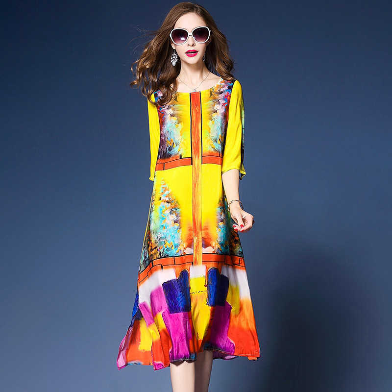 Zomer 2020 Vrouwen Zijde Strand Print Jurk Elegante Mode Boho Chic Lange Bloemen Vestido Mujer Kj1856