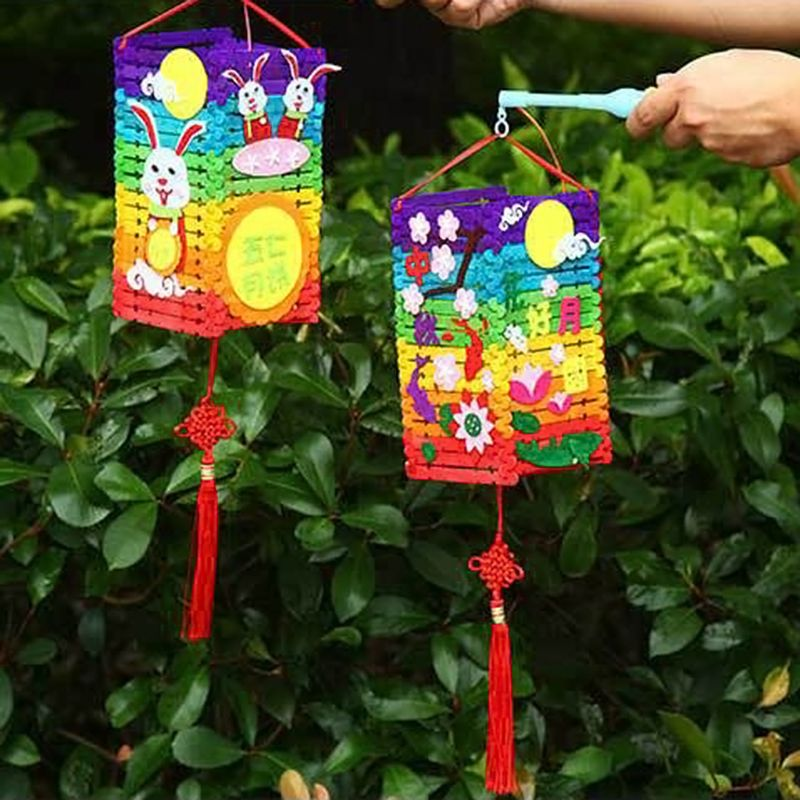 Chinese Cartoon Lanterns Kids DIY Handmade Wedding Party Decoration Hanging Lantern for Children in Lanterns from Home Garden