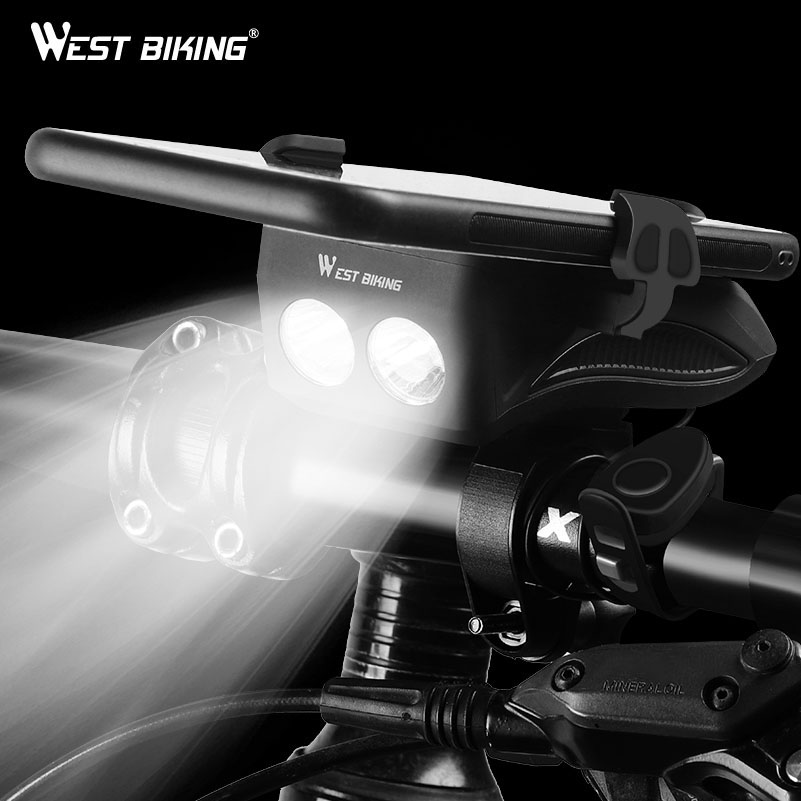 WEST BIKING 4 In 1 Bicycle Light Flashlight Bike Horn Alarm Bell Phone Holder Power Bank Bike Accessories Cycling Front Light