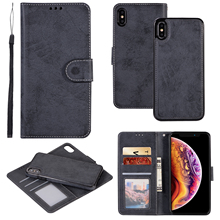 XR Shell For iPhone 12 11 Pro XS Max X SE 6 8 7 Plus Case Retro Leather Wallet 2 in 1 Magnetic Detachable Flip Cases Cover Coque