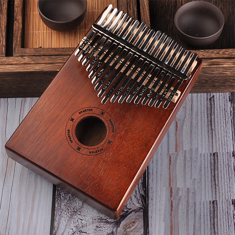 Protable Piano 17 Keys Kalimba Thumb Piano Made By Single Board High-Quality Wood Mahogany Body Musical Instrument title=