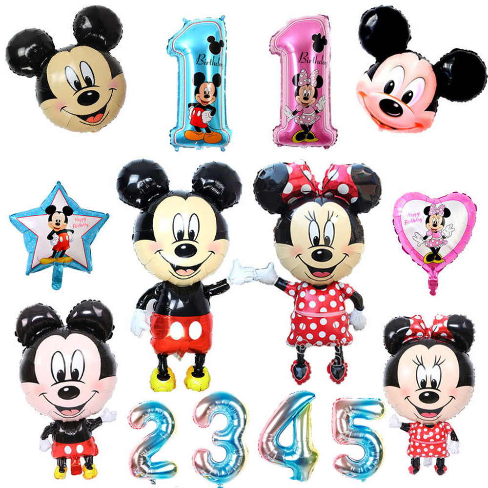 112cm Giant Mickey Minnie Heart Mouse Balloon Cartoon Foil Birthday Party Balloon Children Birthday Party Decorations Kids Gift