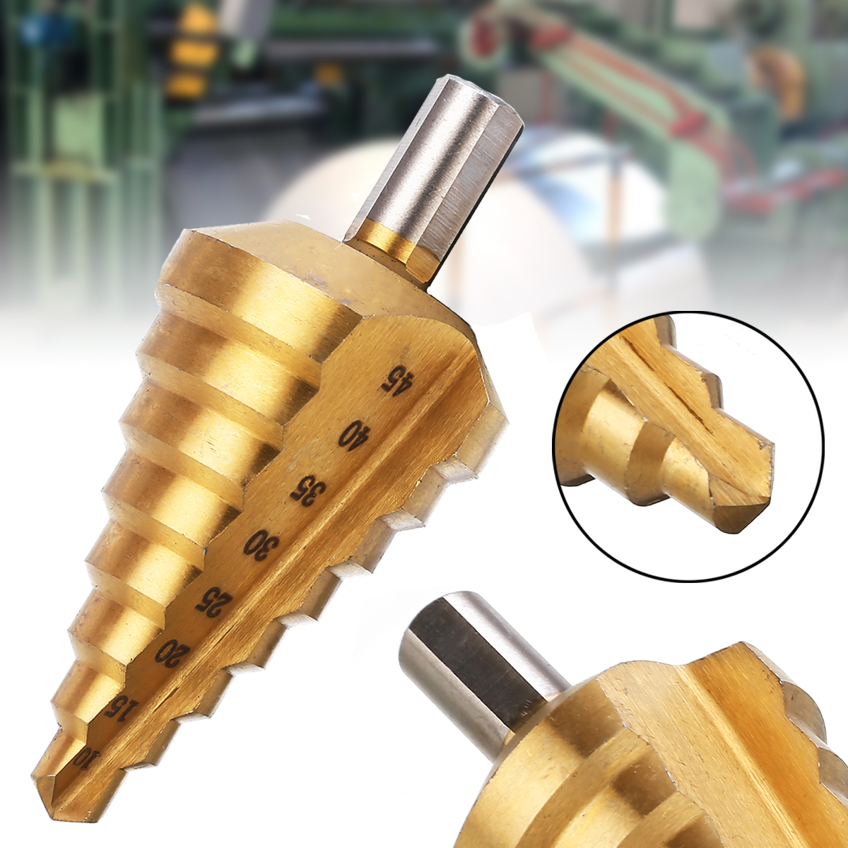 1Pc HSS Step Drill Bit 10/15/20/25/30/35/40/45mm Tin Stepped Drill Peeling Conical Drill Bit Wood Hole Cutter Cone Drill Tools
