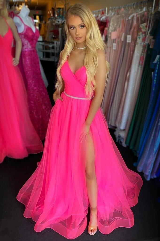 2020 Hot Pink Long V Neck Prom Dresses Spaghetti Straps Sleeveless Backless High Split Formal Evening Party Gowns Robe De Soiree