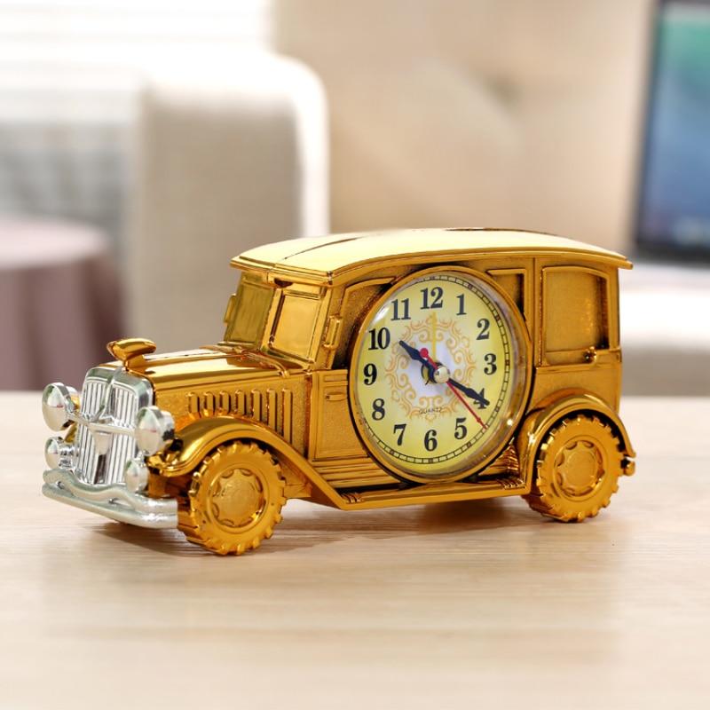 Old Car Alarm Clock Retro Nostalgic Digital Pointer Plastic Multi-function Desk Classical Vintage Car Shaped Gift