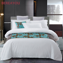 Luxury Bedding Sets White Cotton Hotel Duvet Cover Double Bed Sheet 3/4pcs Full Queen King Size Pillowcase juego de cama