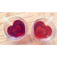 Heart Love Shaped Double Wall Glass Mug Drinkware Lover Coffee Cups Gift new