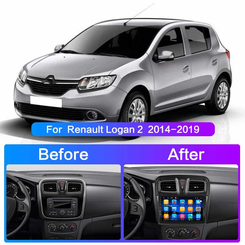 Android 10.0 untuk Renault Logan 2 Sandero 2 2014 2015 2016 2017 2018 2019 Mobil Radio Pemutar Video Multimedia Navigasi gps 2din