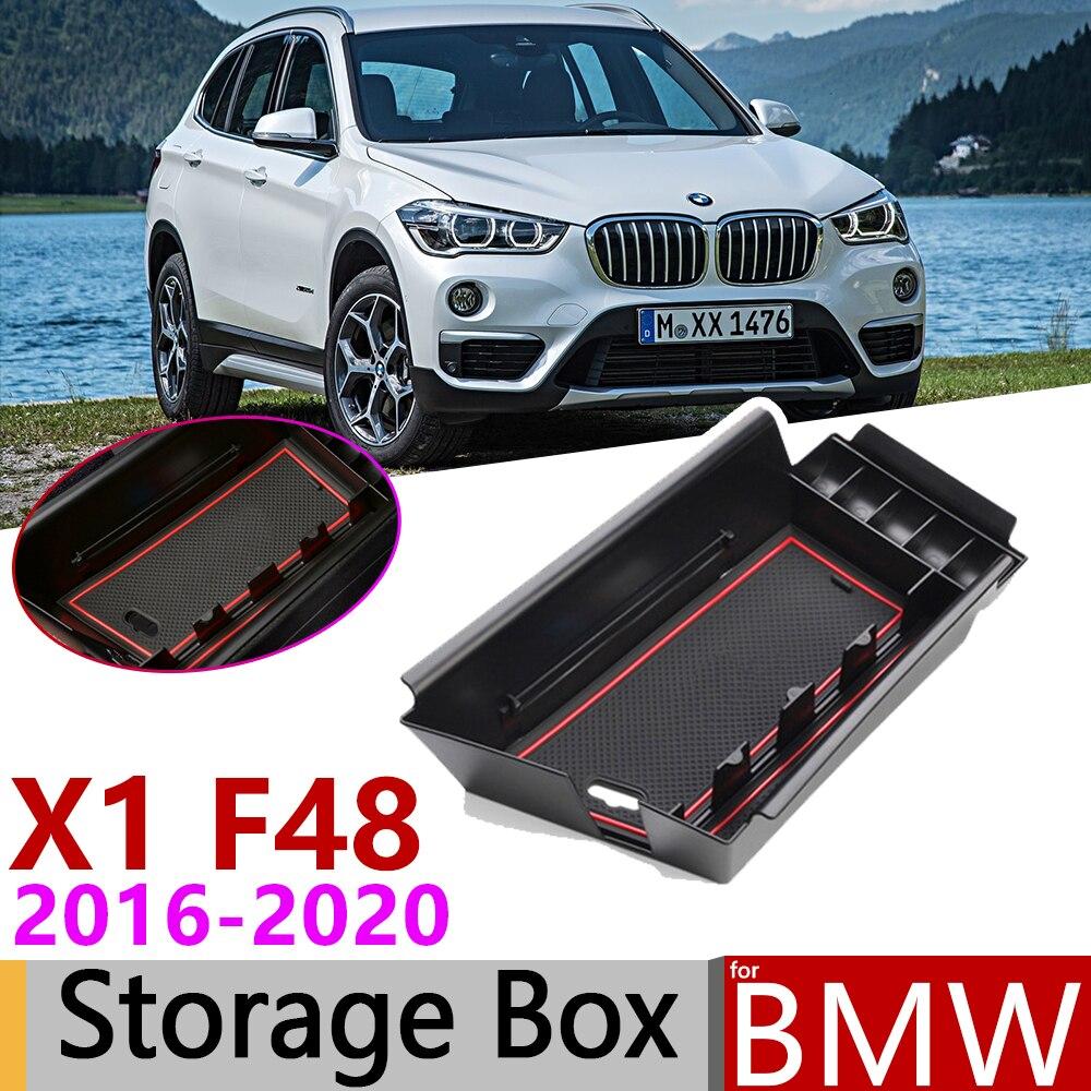 Para BMW X1 F48 X1M M Poder Apenas LHD 2016 ~ 2020 de Armazenamento Caixa De Braço Carro Estiva Tidying Organizador Acessórios 2017 2018 2019
