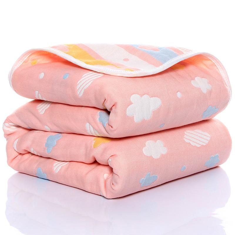 110*110cm Baby Cotton Blanket Six-layer Gauze Children's Bath Towel Newborn Thin Quilt Blanket Infant Summer Quilt Nap Blanket