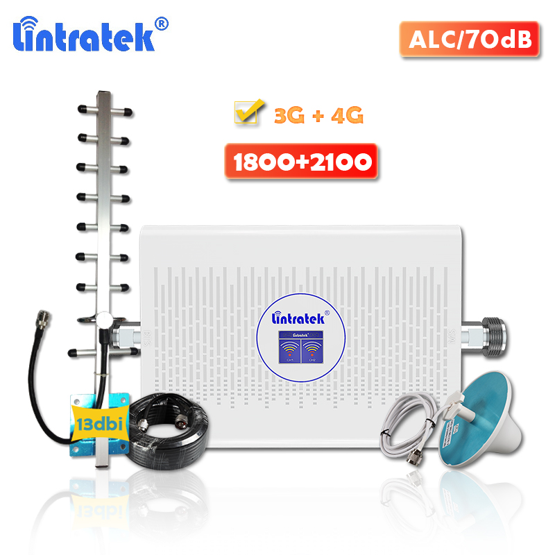 Lintratek 3g 4g Signal Booster 1800 2100MHz AGC 70dB High Gain DCS LTE 1800 Cellular Amplifier WCDMA 2100 Mobile Phone Repeater