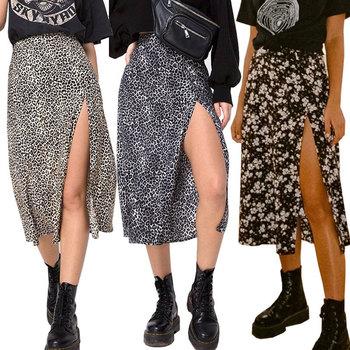 Kobiety lato Split Leopard spódnice 2020 zielone modne długie spódnice Sexy kobiety Streetwear luźna odzież damska czarne spódnice do połowy łydki tanie i dobre opinie COTTON Poliester CN (pochodzenie) Osób w wieku 18-35 lat A-LINE NONE S1SKT811 empire Na co dzień