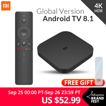 Оригинальный Глобальный Xiaomi Mi tv Box S 4K HDR Android tv 8,1 Ultra HD 2G 8G wifi Google Cast Netflix IP tv Set top Box 4 медиаплеер