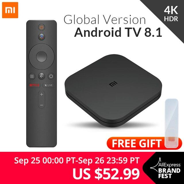 Оригинальный Глобальный Xiaomi Mi tv Box S 4K HDR Android tv 8,1 Ultra HD 2G 8G wifi Google Cast Netflix IP tv Set top Box 4 медиаплеер
