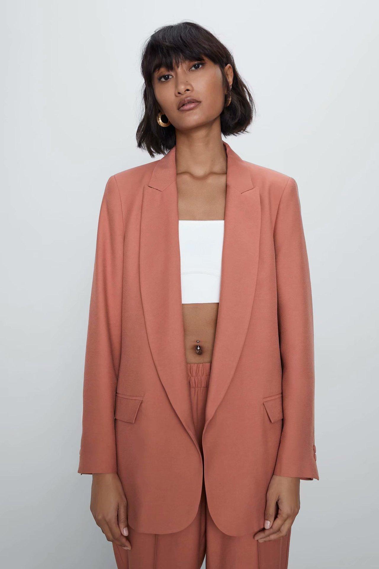 2020 New Spring Summer European Silk Satin Zaraing Women Suit Jacket Coat Sheining Vadiming Female Small Suit Bgb2193