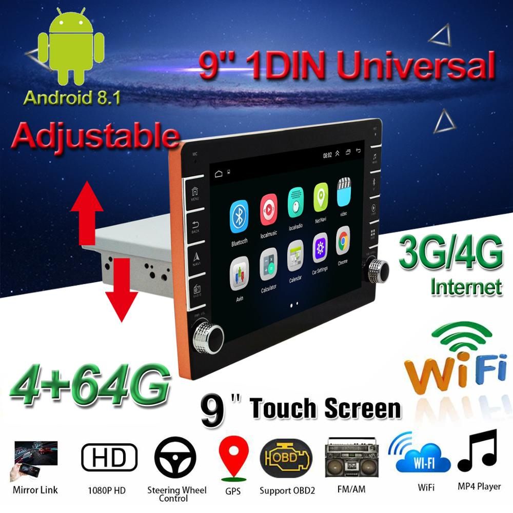 9 inch1Din Android 8.1 1080P Touch Screen Car Stereo Radio With Adjustable BT Knob Quad-core GPS Wifi 3G 4G image