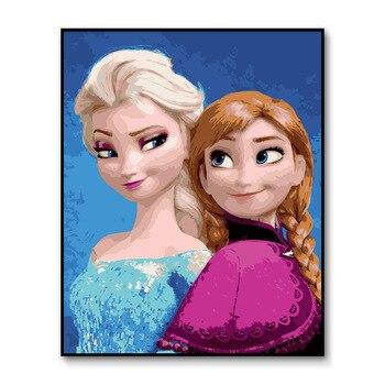 Anna farba według numeru dla dorosłych oprawione Elsa ręcznie malowany obrazek według numeru mrożone kolorowanki numeryczne do salonu