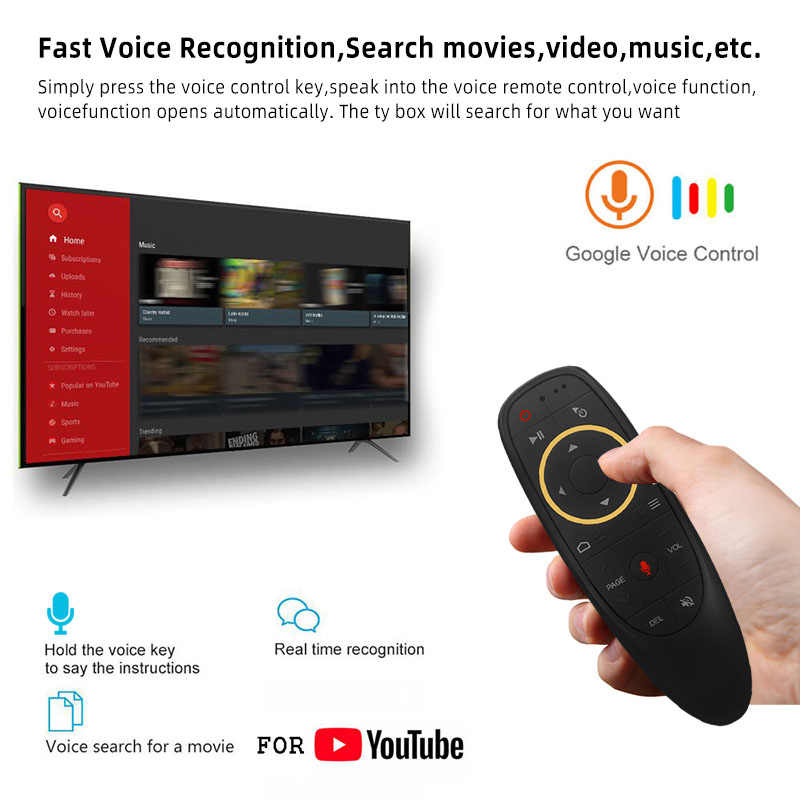 G10 Voice Universele Afstandsbediening 2.4G Draadloze Air Mouse Microfoon Gyroscoop Ir Leren Voor Android Tv Box H96 Max x96 Mini