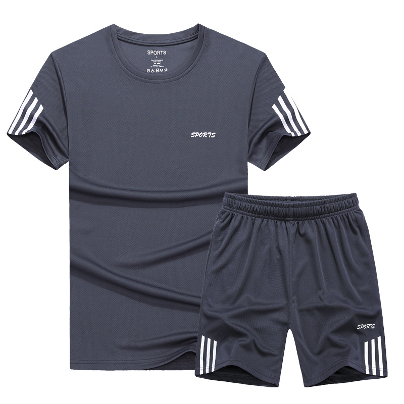 Hot Selling Plus-sized Men Leisure Sports Suit Quick Drying Clothes Set Jogging Suits Lard-bucket Sports Two-Piece Set