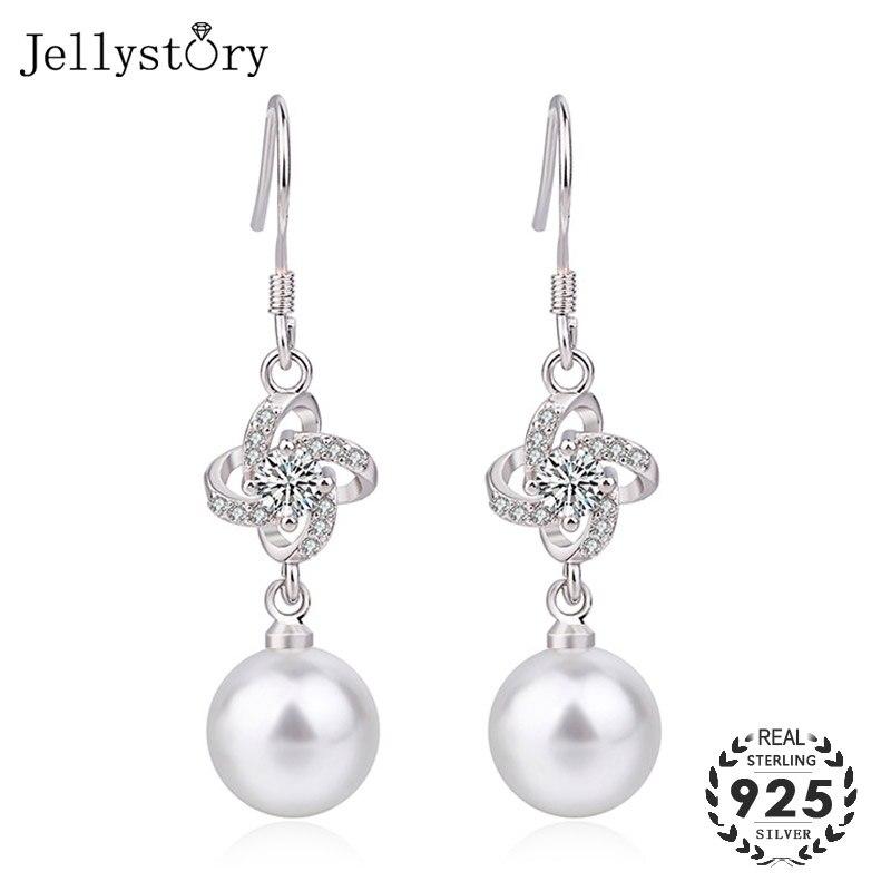 Jellystory 10mm Freshwater Pearl Earrings Clover Shape Zircon Gemstones Drop Earrings 925 Silver Jewelry for Women Wedding Gift