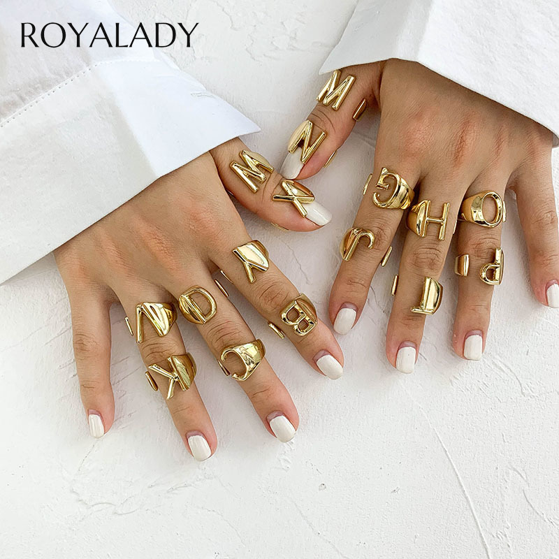 Hollow A-Z Letter Gold Color Metal Adjustable Opening Finger Ring Initial Name Alphabet Female Party Chunky Wide Trendy Jewelry