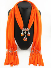 Explosive original Tibetan honeywax beads pendant scarf polyester pure color 180x40cm foreign trade jewelry