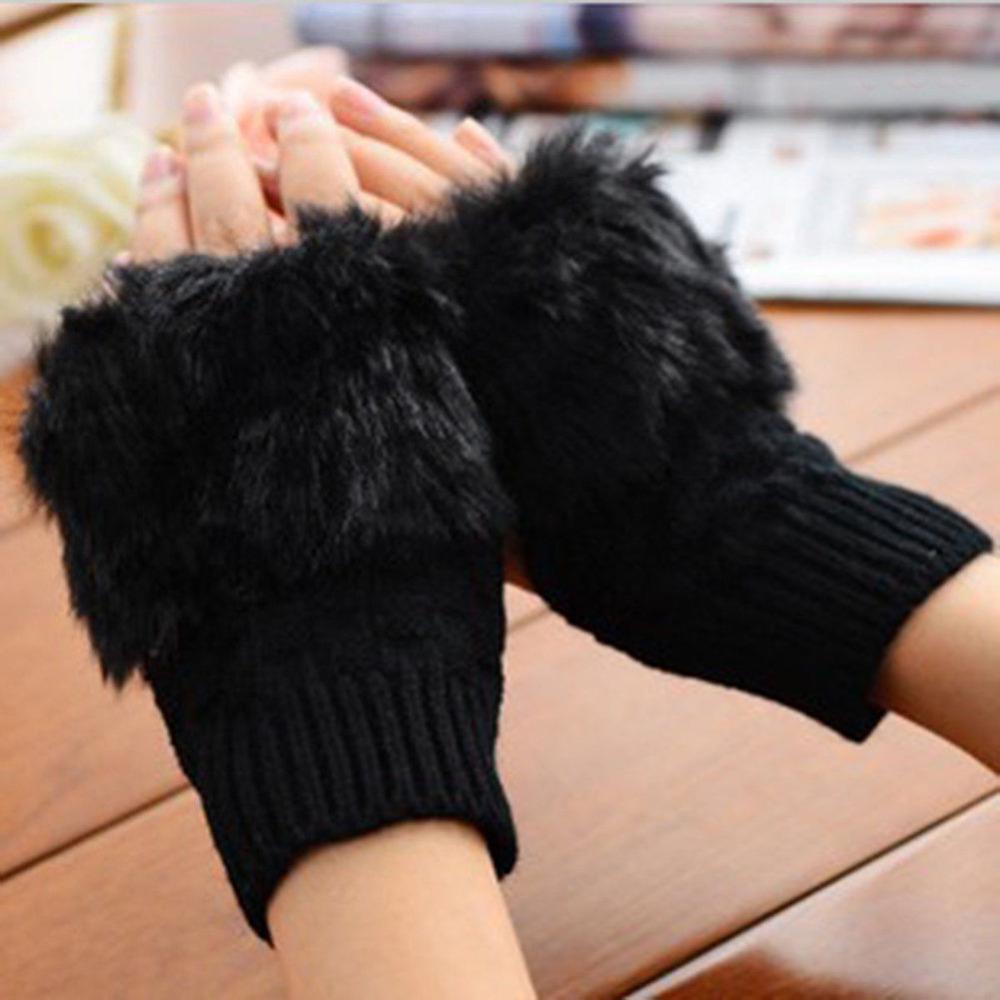 Woolen Rabbit Fur Women Fingerless Gloves Knitting Wool Mittens Wrist Winter Gloves Soft Warmer Crochet Mittens Winter Female