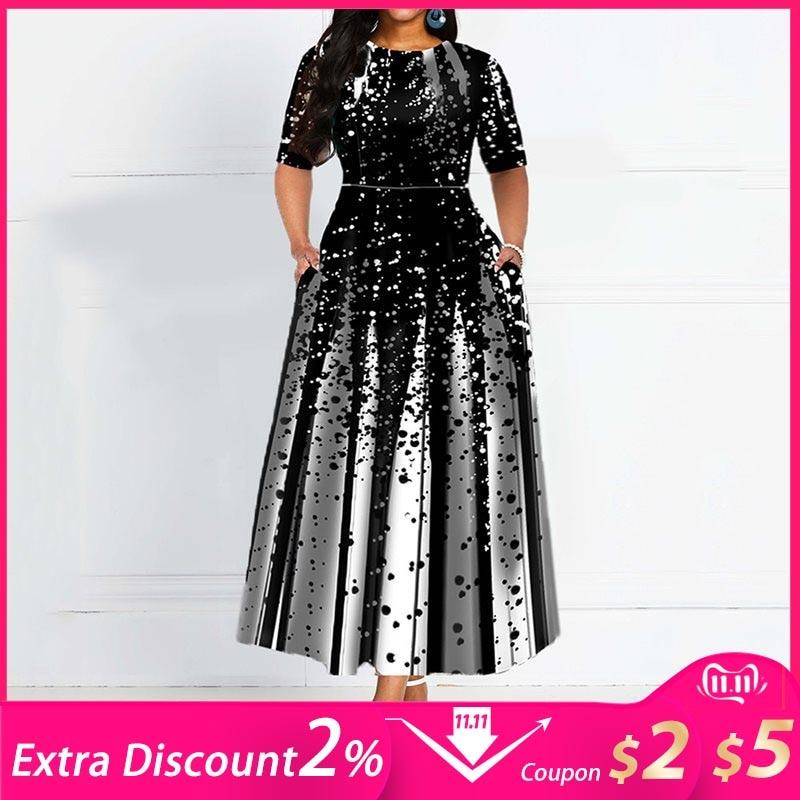 Fashion Women Half Sleeve Elegant Round Neck Boho Bandage Print Long Midi Dress Ladies Casual Slim Ladies Dress gown