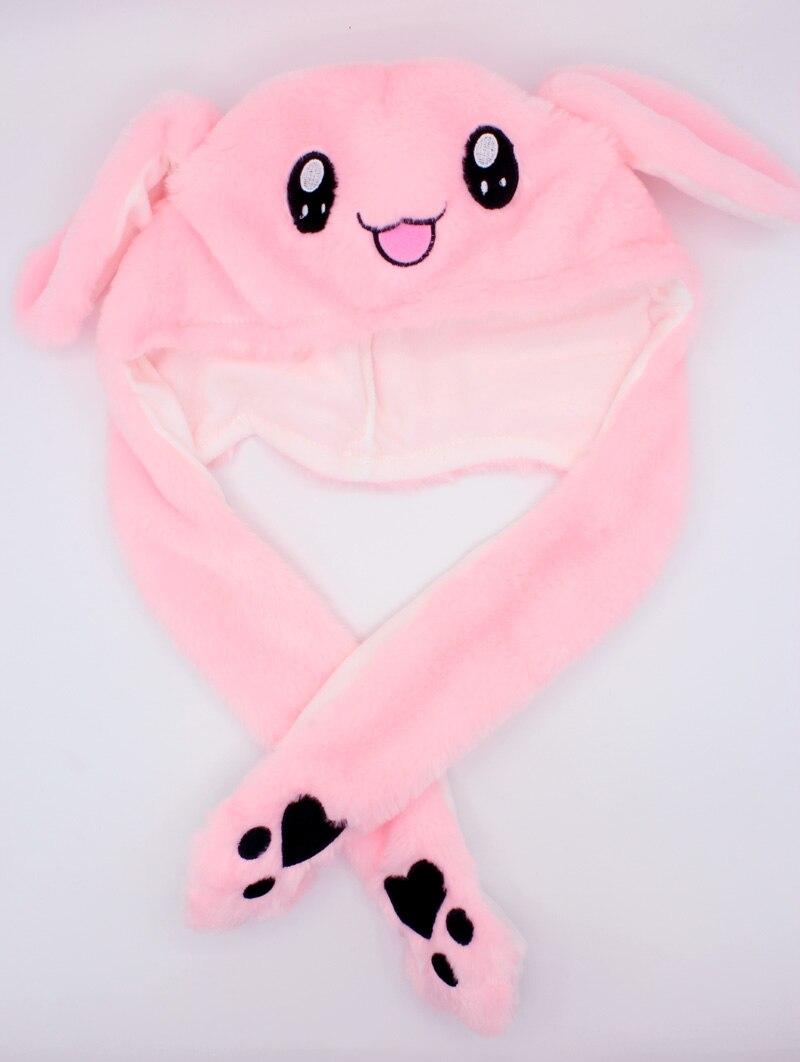 Kocozo, шапка кролика, подвижные уши, милая мультяшная игрушка, шапка, подушка безопасности, Kawaii, забавная шапка-игрушка, Детская плюшевая игрушка, подарок на день рождения, шапка для девочек - Цвет: Pink Rabbit