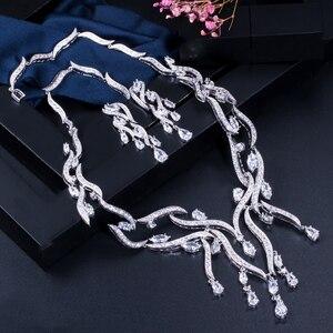 Image 3 - CWWZircons יוקרה לבן מעוקב Zirconia ארוך גדול ציצית זרוק חתונה מסיבת שרשרת עגילי תכשיטי סטים לנשים כלות T357